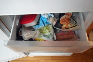 Vi lagrer madrester i fryseren til senere brug